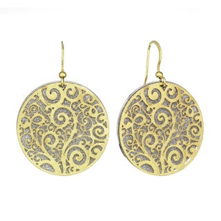 Isla Simone - Gold Tone Crystalized Bi-Level Paisley Earring