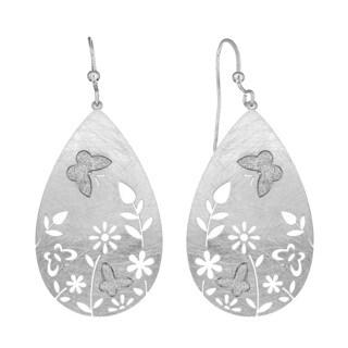 Isla Simone - Silver Tone Flower Crystalize Butterfly Earrings