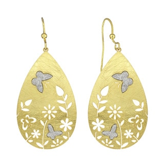 Isla Simone - Gold Tone Flower Crystalize Butterfly Earrings