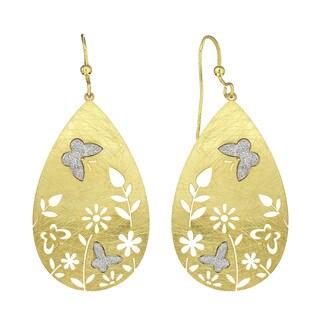 Isla Simone - Gold Tone Flower Crystalize Butterfly Earrings