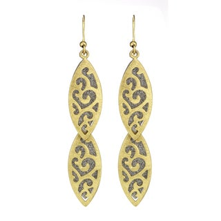 Isla Simone - Gold Tone Crystalized Bi-Level 2-Tier Earring