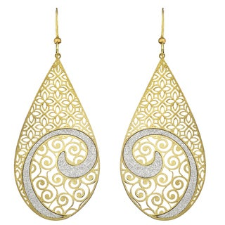 Isla Simone - Gold Tone Concave Crystalized Swirl Large Earring