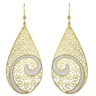 Isla Simone - Gold Tone Concave Crystalized Swirl Large Earring