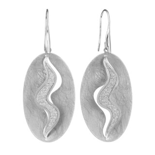 Isla Simone - Silver Tone Concave Crystalized Swirl Large Earring