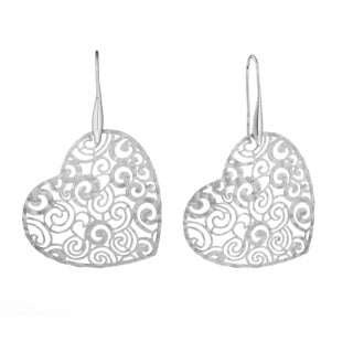 Isla Simone - Silver Tone Concave Rose Etched Heart Earring