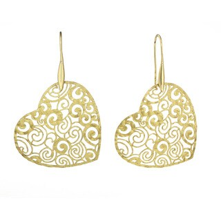 Isla Simone - Gold Tone Concave Rose Etched Heart Earring
