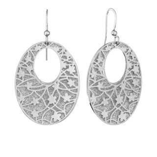 Isla Simone - Silver Tone Crystalized Bi-Lever Flower Oval Earring