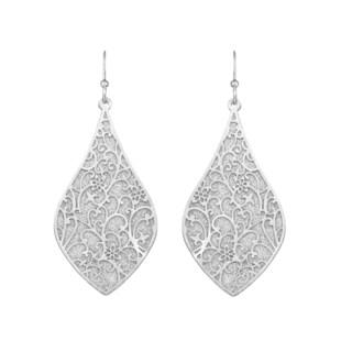 Isla Simone - Silver Tone & Crystalized Bi-Lever Paisley Earring