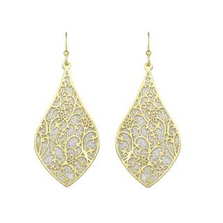 Isla Simone - Gold Tone & Crystalized Bi-Lever Paisley Earring