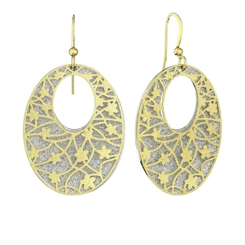 Isla Simone - Gold Tone Crystalized Bi-Lever Flower Oval Earring
