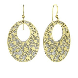 Isla Simone - Gold Tone Crystalized Bi-Lever Flower Oval Earring