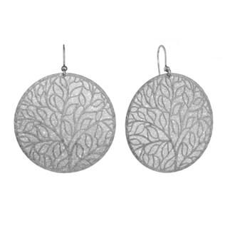 Isla Simone - Silver Tone Tree-Of-Life Circle Earring