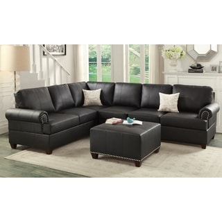 Barletta 2 Pieces Sectional Sofa with Ottoman Upholstered in Bonded Leather  sc 1 st  Overstock.com : brown sectional with ottoman - Sectionals, Sofas & Couches