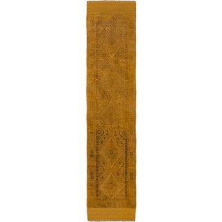 Ecarpetgallery Hand-knotted Tajik Caucasian Brown Wool Runner Rug (1'11 x 8'5)