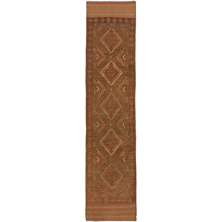 Ecarpetgallery Hand-knotted Tajik Caucasian Green Orange Wool Runner Rug (1'10 x 8'3)