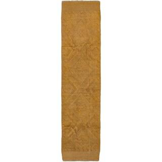 Ecarpetgallery Hand-knotted Tajik Caucasian Brown Wool Runner Rug (1'11 x 8')