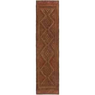 Ecarpetgallery Hand-knotted Tajik Caucasian Green Orange Wool Runner Rug (2' x 7'9)