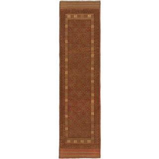 Ecarpetgallery Hand-knotted Tajik Caucasian Green Orange Wool Runner Rug (2' x 7'11)