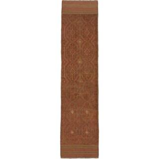 Ecarpetgallery Hand-knotted Tajik Caucasian Green Orange Wool Runner Rug (2'1 x 8'8)