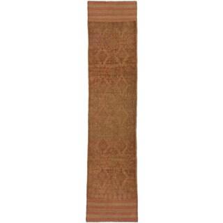Ecarpetgallery Hand-knotted Tajik Caucasian Green Orange Wool Geometric Runner Rug (1'10 x 8'3)