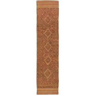 Ecarpetgallery Hand-knotted Tajik Caucasian Green Orange Wool Runner Rug (1'11 x 8'7)