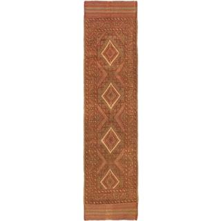Ecarpetgallery Hand-knotted Tajik Caucasian Green Orange Wool Runner Rug (2' x 8'5)