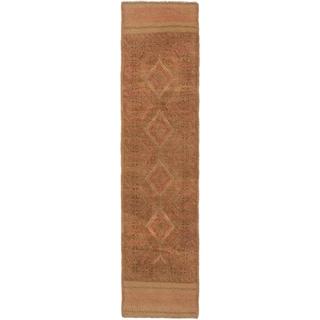 Ecarpetgallery Hand-knotted Tajik Caucasian Brown Wool Geometric Runner Rug (2' x 8'3)