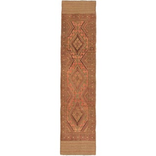 Ecarpetgallery Hand-knotted Tajik Caucasian Brown Orange Wool Runner Rug (1'11 x 8'6)