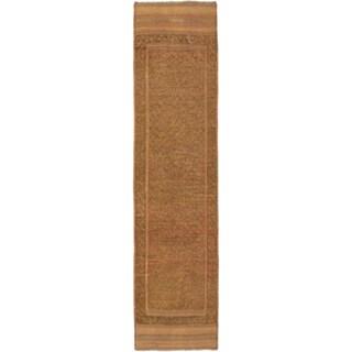 Ecarpetgallery Hand-knotted Tajik Caucasian Brown Green Wool Runner Rug (1'11 x 7'9)