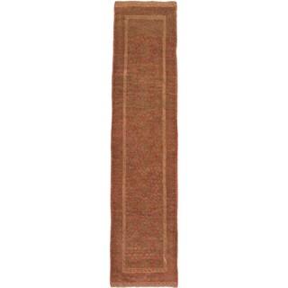 Ecarpetgallery Hand-knotted Tajik Caucasian Green Orange Wool Casual Runner Rug (1'10 x 8'3)