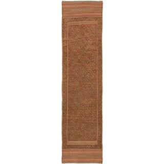 Ecarpetgallery Hand-knotted Tajik Caucasian Brown Orange Wool Casual Runner Rug (2' x 7'9)