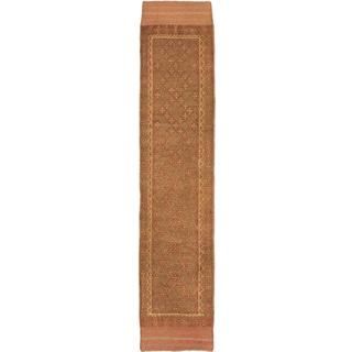 Ecarpetgallery Hand-knotted Tajik Caucasian Green Orange Wool Runner Rug (1'10 x 8'7)