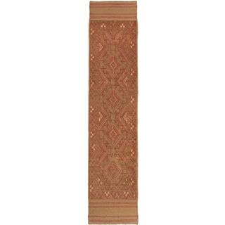 Ecarpetgallery Hand-knotted Tajik Caucasian Brown Orange Wool Runner Rug (1'10 x 8'5)