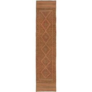 Ecarpetgallery Hand-knotted Tajik Caucasian Brown Orange Wool Runner Rug (1'9 x 8')