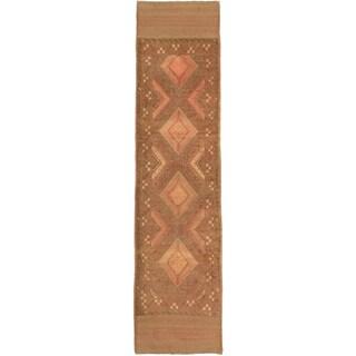 Ecarpetgallery Hand-knotted Tajik Caucasian Brown Green Wool Geometric Runner Rug (2' x 8'5)