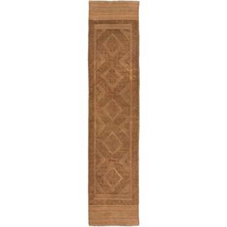 Ecarpetgallery Hand-knotted Tajik Caucasian Green Orange Wool Runner Rug (1'10 x 8')