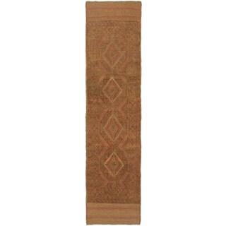 Ecarpetgallery Hand-knotted Tajik Caucasian Brown Wool Runner Rug (1'11 x 7'9)