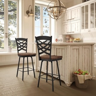 Amisco Weaver Swivel Metal Counter Stool With Distressed Wood Seat