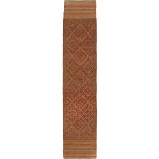 Ecarpetgallery Hand-knotted Tajik Caucasian Brown Orange Wool Runner Rug (1'10 x 8'8)