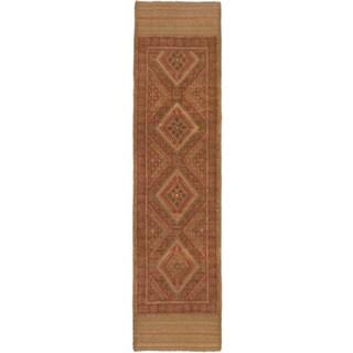 Ecarpetgallery Hand-knotted Tajik Caucasian Brown Orange Wool Oriental Geometric Runner Rug (2' x 8')