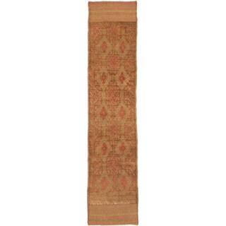 Ecarpetgallery Hand-knotted Tajik Caucasian Brown Orange Wool Casual Runner Rug (1'11 x 8'3)