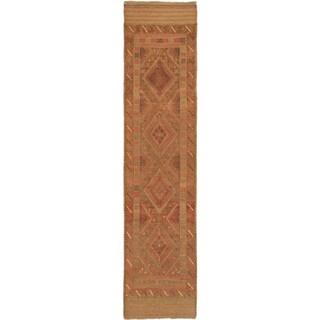 Ecarpetgallery Hand-knotted Tajik Caucasian Brown Orange Wool Runner Rug (1'11 x 8'2)