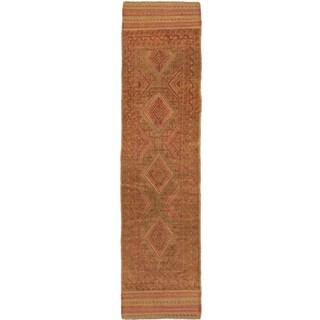 Ecarpetgallery Hand-knotted Tajik Caucasian Brown Orange Wool Runner Rug (2' x 7'7)