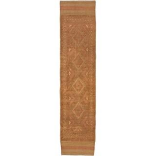 Ecarpetgallery Hand-knotted Tajik Caucasian Brown Orange Wool Runner Rug (1'10 x 8'4)