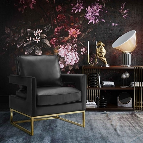 Shop Avery Black Leather Chair Free Shipping Today