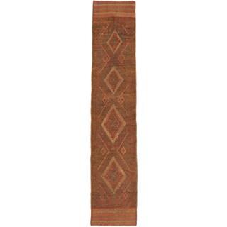 Ecarpetgallery Hand-knotted Tajik Caucasian Green Orange Wool Runner Rug (1'10 x 8'8)