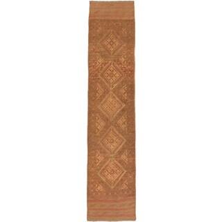 Ecarpetgallery Hand-knotted Tajik Caucasian Brown Orange Wool Casual Runner Rug (1'10 x 8'5)