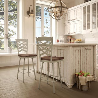 Amisco Weaver Swivel Metal Barstool With Distressed Wood Seat