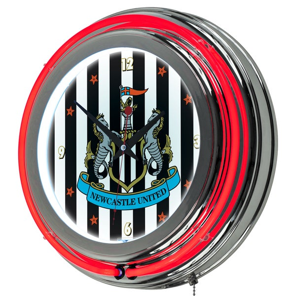 Premier League Newcastle United Chrome Double Rung Neon Clock