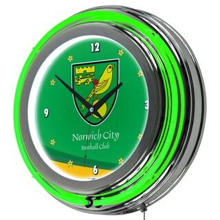 Premier League Norwich City Chrome Double Rung Neon Clock
